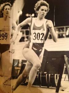 Kristen racing for Indiana University, Division 1 National Championships (1991)