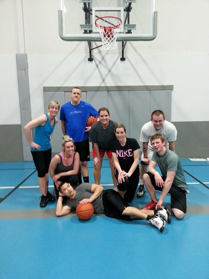 Justin (back right) playing basketball at The Valley Athletic Club in 2014