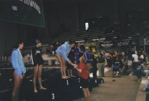 Megan was state and relay champion as a high school junior in 2004
